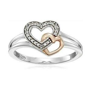 Jewelry - Sterling Silver 2 Tone Diamond Heart Ring Size 7